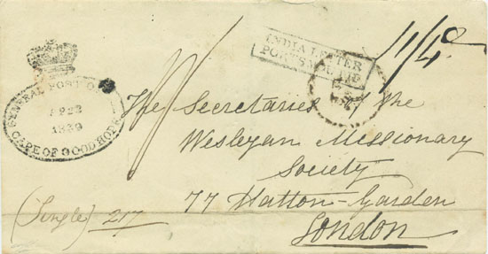 An 1839 letter from a Missionary stationed at Umpukani to London, via Graaf Reinnett and Cape Town.
